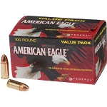 Federal American Eagle 9mm Luger 115 Grain FMJ 100rd bx Ammo AE9DP100
